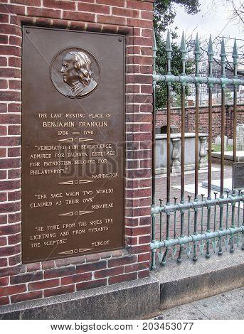 Christ Church Burial Ground, Philadelphia, Benjamin Franklin