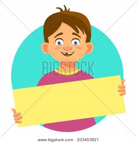 Smiling boy holding blank poster. Blank message illustration. Hands holding blank paper