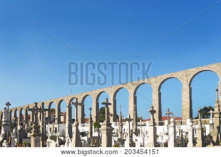 Roman aqueduct in Vila do Conde, Portugal