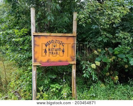 an orange wooden mesozoic nature trail sign and green plants