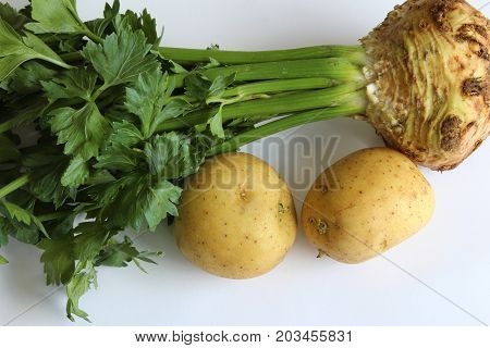Celeriac root paired with potatoes, horizontal aspect