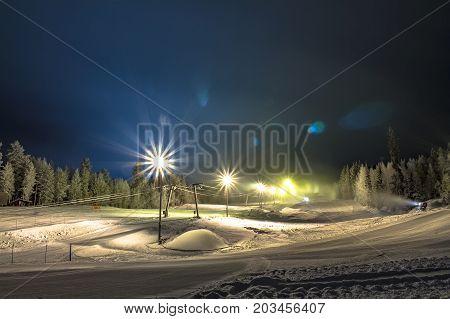 photo of ski slope from Vuokatti, Finland.