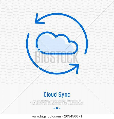 Cloud sync thin line icon. Cloud computing technology vector illustration.