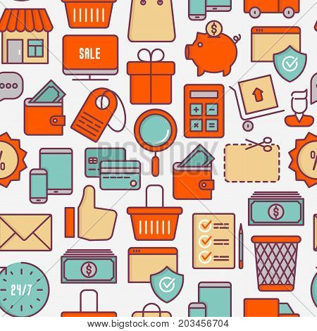 E-commerce, shopping seamless pattern with thin line icons: shopping cart, payment method, delivery, sale. Vector illustration for background of banner, web page, print media.