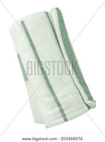 Kitchen Utensil White and Green Stripes Napkin Serviette or Kitchen Towel Isolated on White Background.