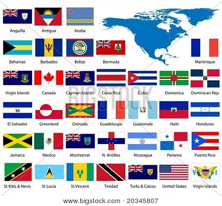 Detailed North American Flags and Map - also available in EPS format