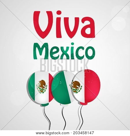illustration of balloons in Mexico flag background with Viva Mexico text on the occasion of Mexico Independence Day