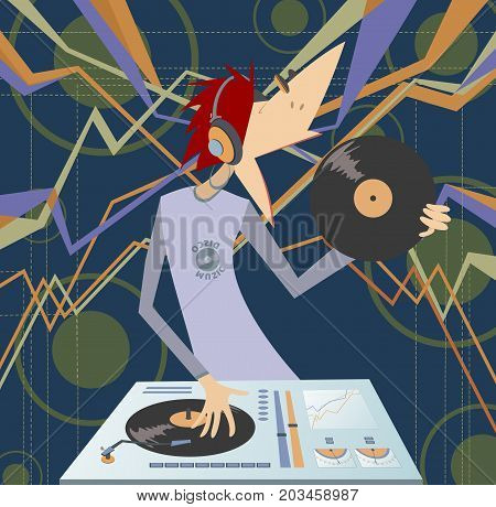 Cartoon funny DJ illustration. Smiling DJ holds record in the hand and performing electronic music