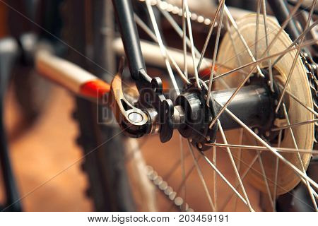 Part of a wheel with mountain bike knitting