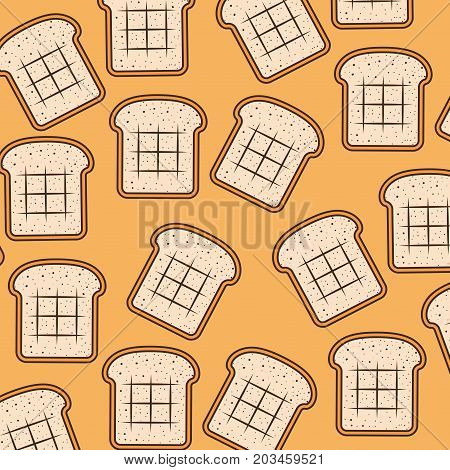 bread slice pattern colorful in sepia background vector illustration