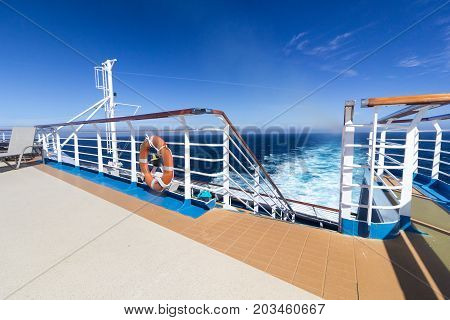 BAY OF BISCAY, OFF FRENCH COAST - MAY 29, 2017: Upper Deck on the cruise ship P&O Oceana at sea