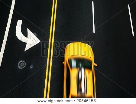 Road Markings On Asphalt On The Street Of Manhattan