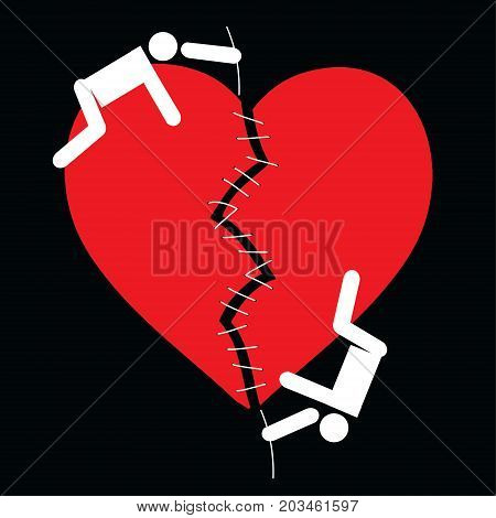 Love relationship psychology Vector Icon. Vector cartoon image of a loving couple of people who sew a broken red heart on a black background.