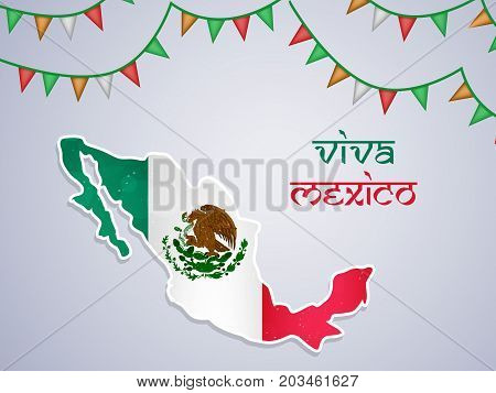 illustration of Mexico map in Mexico flag background and decoration with Viva Mexico text on the occasion of Mexico Independence Day