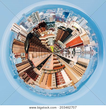 Little planet 360 degree sphere. Modern skyscrapers of Benidorm. Benidorm is a coastal city in Alicante Spain