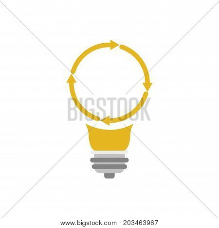 light bulb with reload icon vector illustration