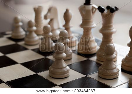 Playing Wooden Chess Pieces. International Day Of Chess, Figures. Chess Photographed On A Chessboard