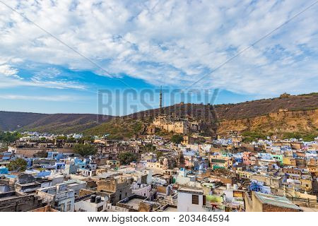 Bundi Cityscape, Travel Destination In Rajasthan, India. The Majestic Fort Perched On Mountain Slope
