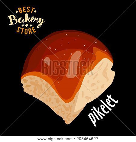 Butter sweet bun for dinner vector. Baked bread product