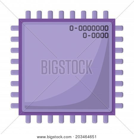 microchip closeup icon silhouette in purple color and shading vector illustration