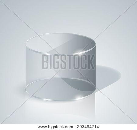 Glass Cylinder. Transparentcylinder. Isolated