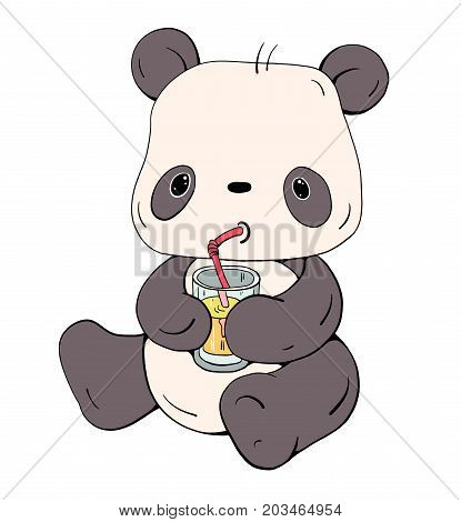 Cute little Panda with juice isolated on white background. Hand-drawn illustration. Vector illustration.