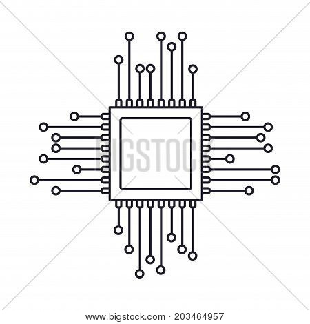 microchip icon monochrome silhouette on white background vector illustration