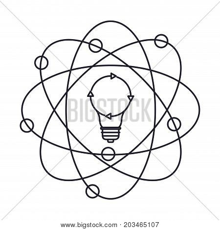 light bulb and atom around monochrome silhouette on white background vector illustration
