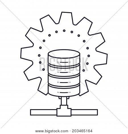 data base center monochrome silhouette on white background vector illustration