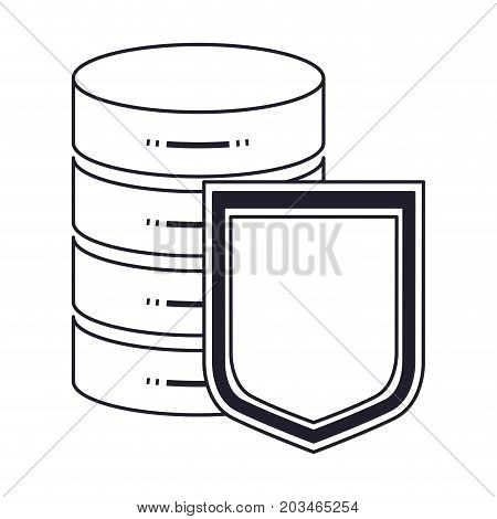 server hosting storage and protection shield icon in monochrome silhouette vector illustration