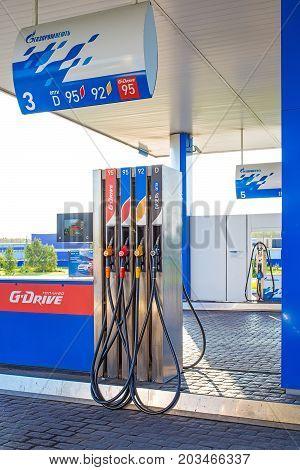 Novosibirsk oblast Siberia Russia - August 27 2017: fuel dispenser company Gazpromneft