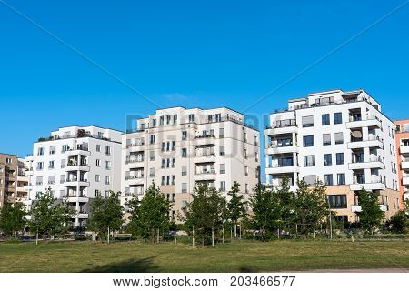 Modern white apartment houses seen in Berlin, Germany