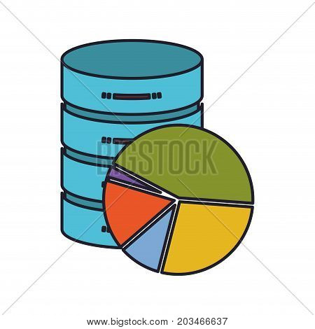 server hosting storage icon colorful and available space circular graphic colorful silhouette with thick contour vector illustration