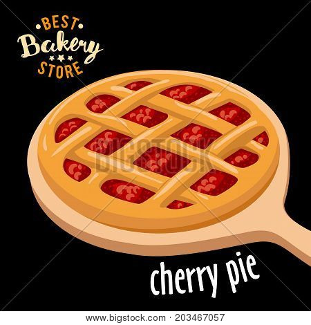 Cherry pie mesh on the board vector. Baked bread product