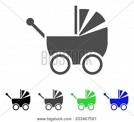 Baby Carriage icon. Vector illustration style is a flat iconic baby carriage symbol with black, gray, green, blue color variants. Designed for web and software interfaces.