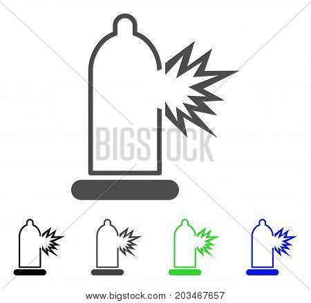 Condom Damage icon. Vector illustration style is a flat iconic condom damage symbol with black, gray, green, blue color versions. Designed for web and software interfaces.
