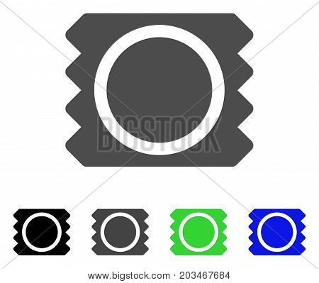 Condom Package icon. Vector illustration style is a flat iconic condom package symbol with black, grey, green, blue color variants. Designed for web and software interfaces.