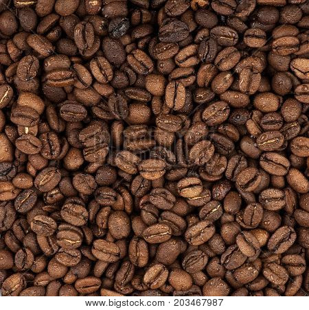 closeup background of whole coffee beans moistened with water
