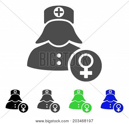Gynecology Lady Doctor icon. Vector illustration style is a flat iconic gynecology lady doctor symbol with black, grey, green, blue color versions. Designed for web and software interfaces.