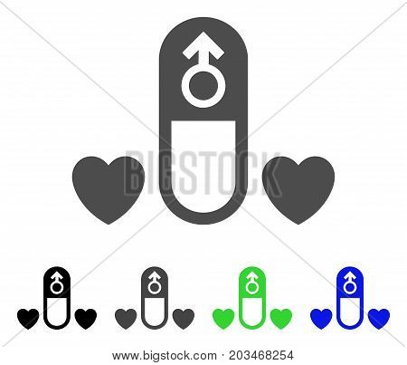 Love Medication Pill icon. Vector illustration style is a flat iconic love medication pill symbol with black, grey, green, blue color variants. Designed for web and software interfaces.