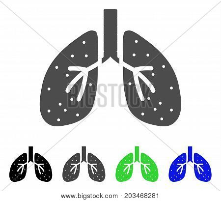 Lungs icon. Vector illustration style is a flat iconic lungs symbol with black, gray, green, blue color variants. Designed for web and software interfaces.