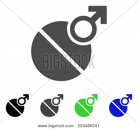 Male Erection Tablet icon. Vector illustration style is a flat iconic male erection tablet symbol with black, grey, green, blue color variants. Designed for web and software interfaces.