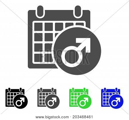 Male Symbol Calendar icon. Vector illustration style is a flat iconic male symbol calendar symbol with black, grey, green, blue color variants. Designed for web and software interfaces.
