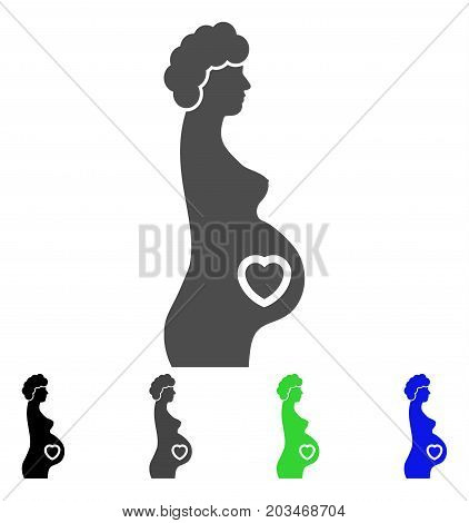 Pregnant Lady icon. Vector illustration style is a flat iconic pregnant lady symbol with black, grey, green, blue color versions. Designed for web and software interfaces.