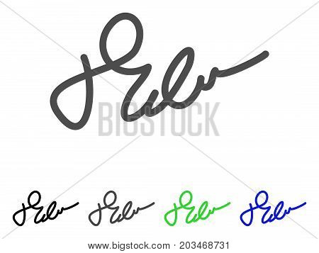 Signature icon. Vector illustration style is a flat iconic signature symbol with black, grey, green, blue color versions. Designed for web and software interfaces.