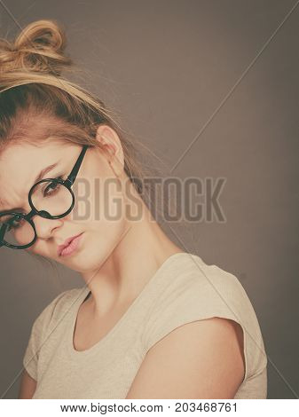 Bored Focused Teenage Woman Wearing Eyeglasses