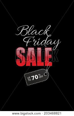 Black Friday Sale text with black discount tag on black background. Black Friday Sale promotion template. Vector illustration.