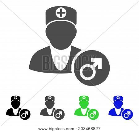 Urology Doctor icon. Vector illustration style is a flat iconic urology doctor symbol with black, grey, green, blue color variants. Designed for web and software interfaces.
