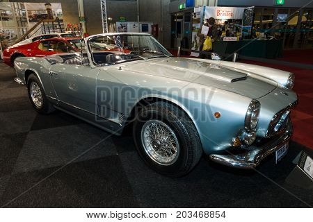 MAASTRICHT NETHERLANDS - JANUARY 09 2015: Sports car Maserati 3500 GT Spyder by Carrozzeria Vignale 1962. International Exhibition InterClassics & Topmobiel 2015