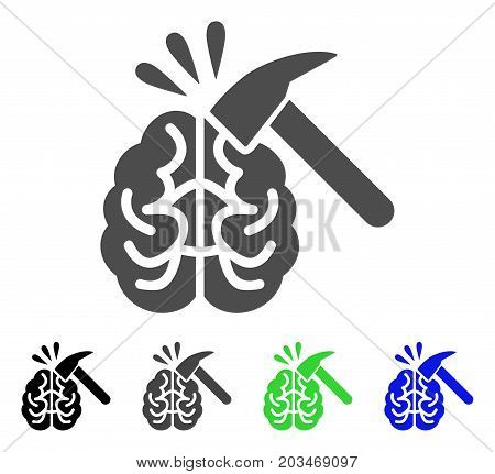 Brain Impact icon. Vector illustration style is a flat iconic brain impact symbol with black, grey, green, blue color versions. Designed for web and software interfaces.